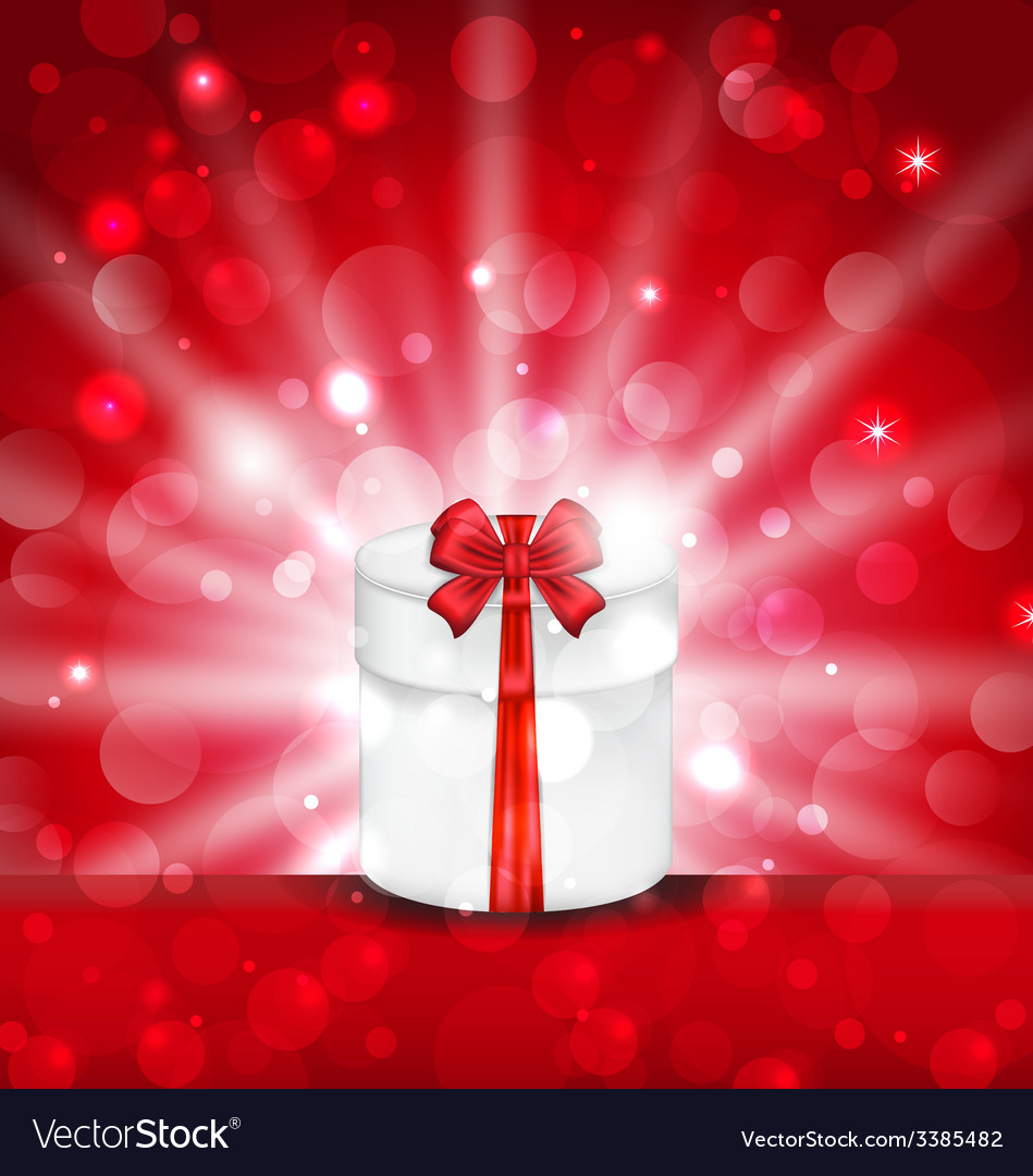 Round gift box on light red background with glow - vector | Price: 3 Credit (USD $3)