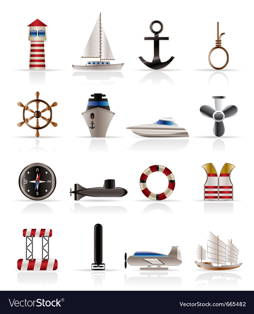 Sailing and sea icons vector | Price: 1 Credit (USD $1)