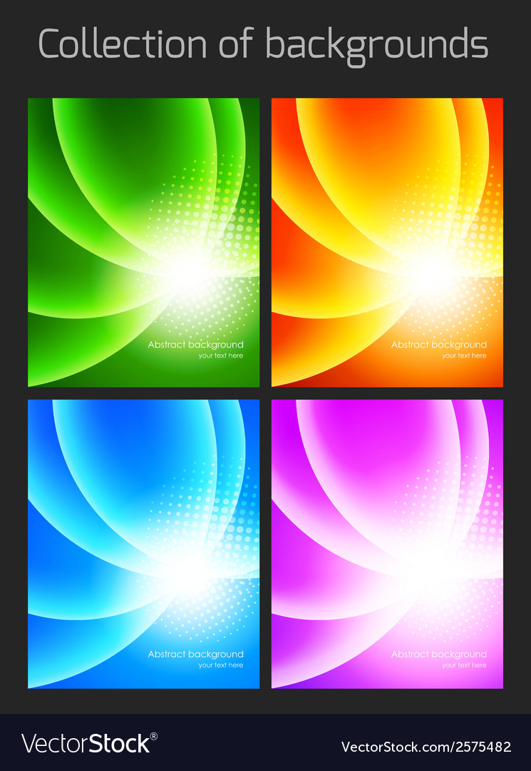 Set of colorful backgrounds with light effect vector | Price: 1 Credit (USD $1)