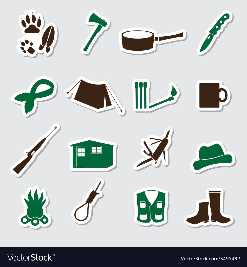 Simple backwoodsman stickers set eps10 vector | Price: 1 Credit (USD $1)