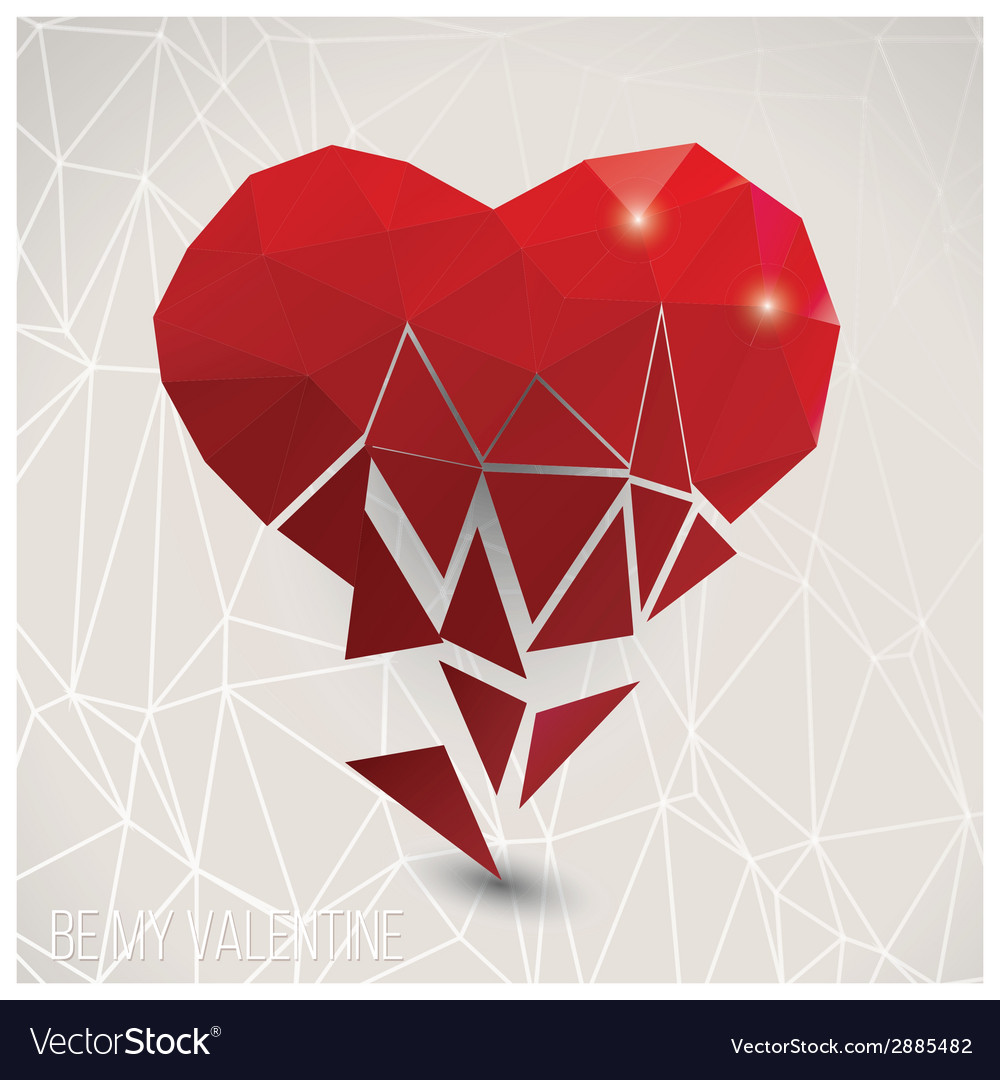 Valentine s day card geometric triangle pattern vector | Price: 1 Credit (USD $1)