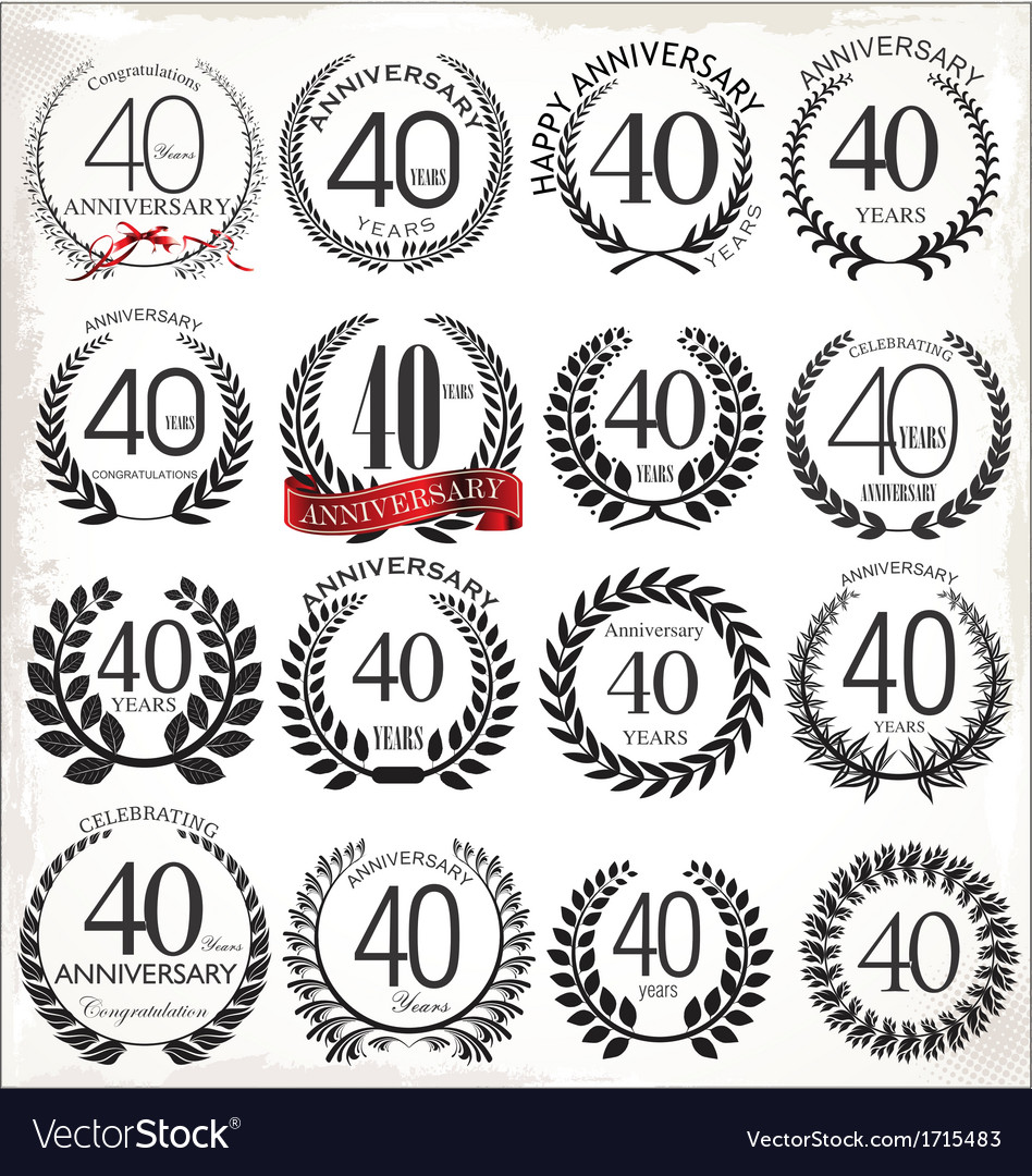 40 years anniversary laurel wreaths vector | Price: 1 Credit (USD $1)