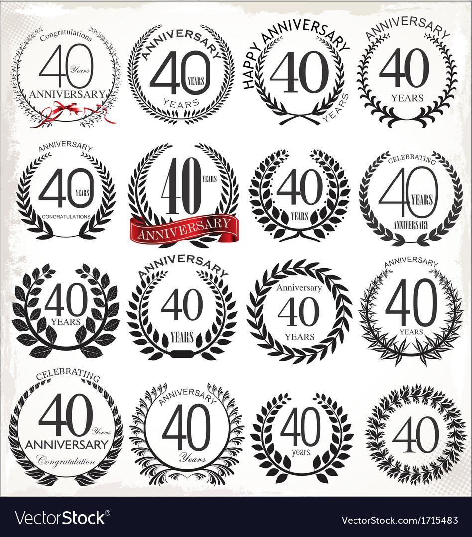 40 years anniversary laurel wreaths vector | Price: 1 Credit (USD $1)