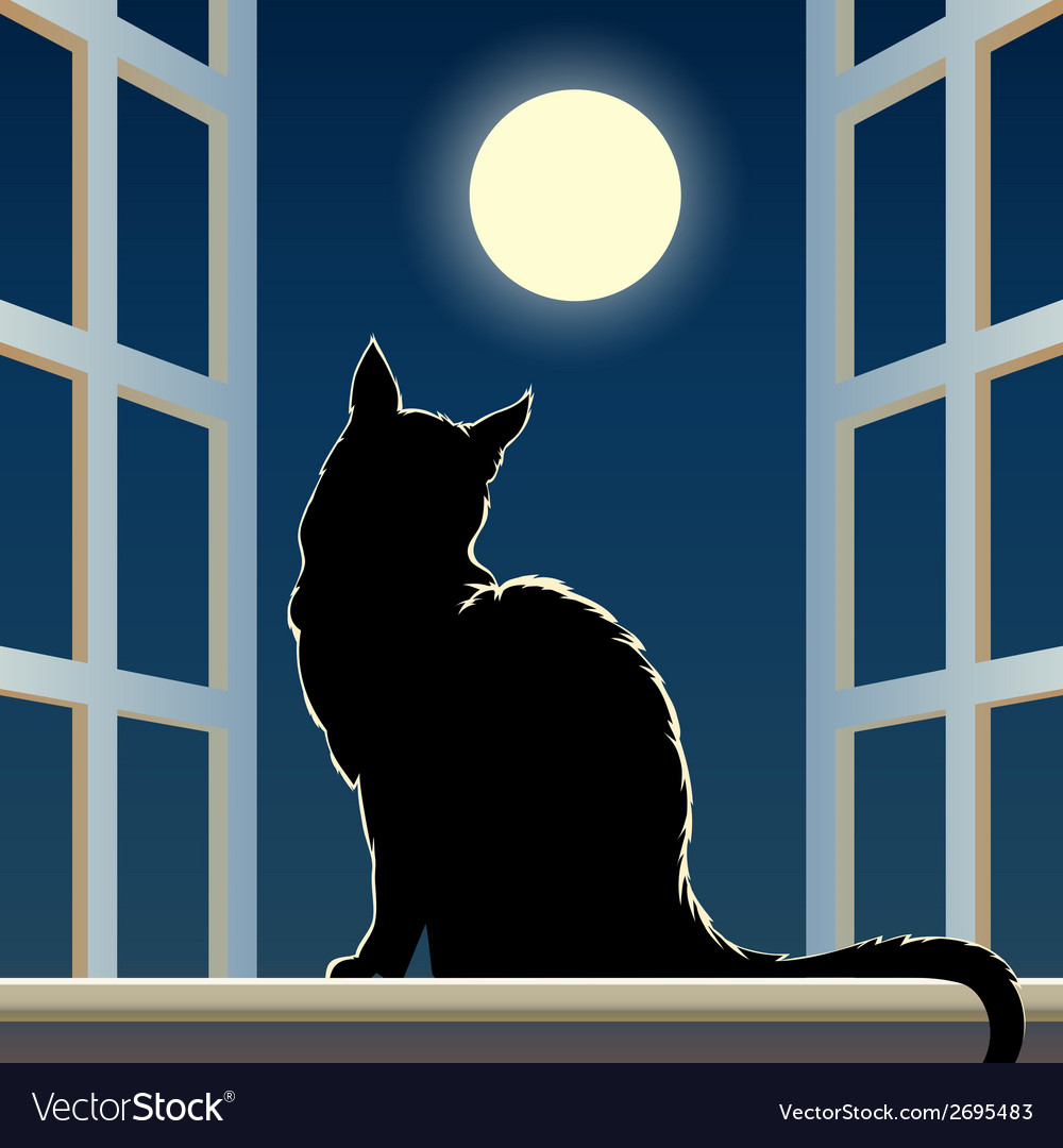 Cat on a window sill vector | Price: 1 Credit (USD $1)