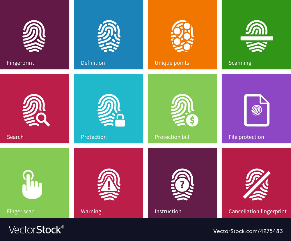Fingerprint icons on color background vector | Price: 1 Credit (USD $1)