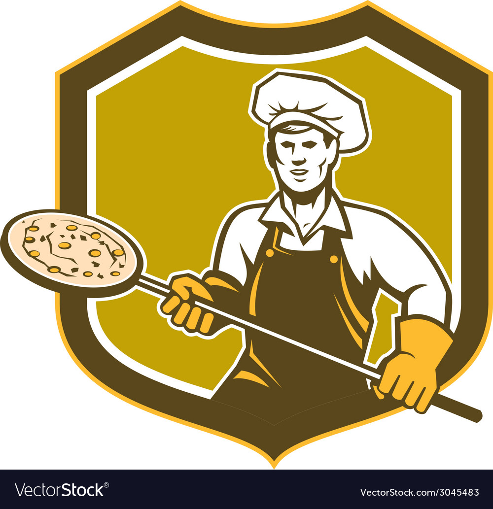 Pizza maker holding peel shield retro vector | Price: 1 Credit (USD $1)