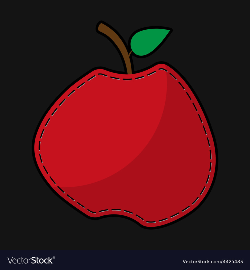 Red seam apple with shadow vector | Price: 1 Credit (USD $1)