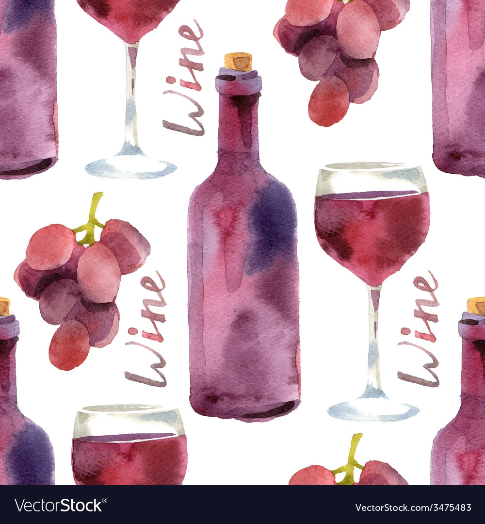 Watercolor wine seamless vector | Price: 1 Credit (USD $1)