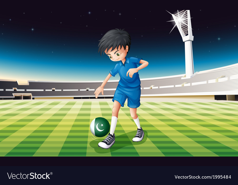 A soccer player using the ball with the pakistan vector | Price: 3 Credit (USD $3)