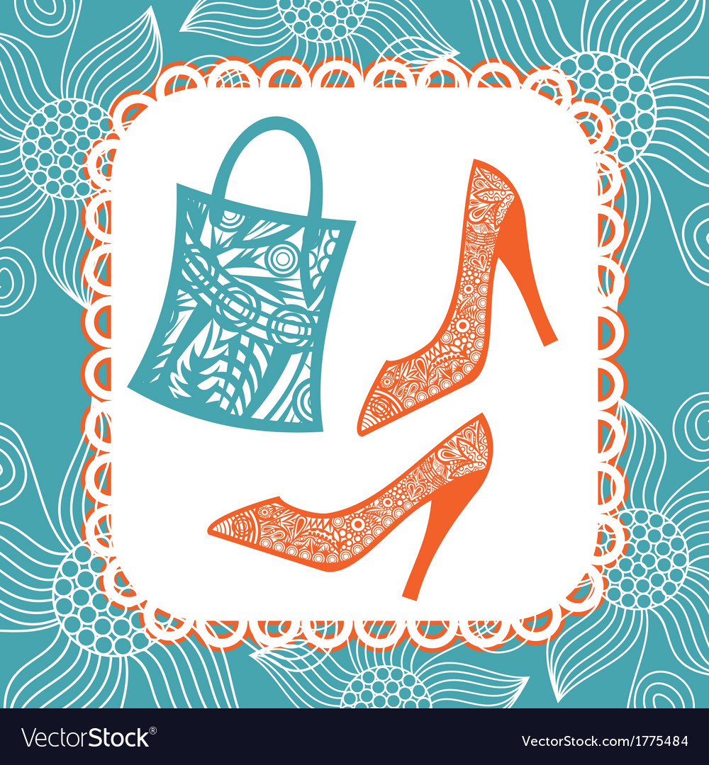 Bag and shoes pattern vector | Price: 1 Credit (USD $1)