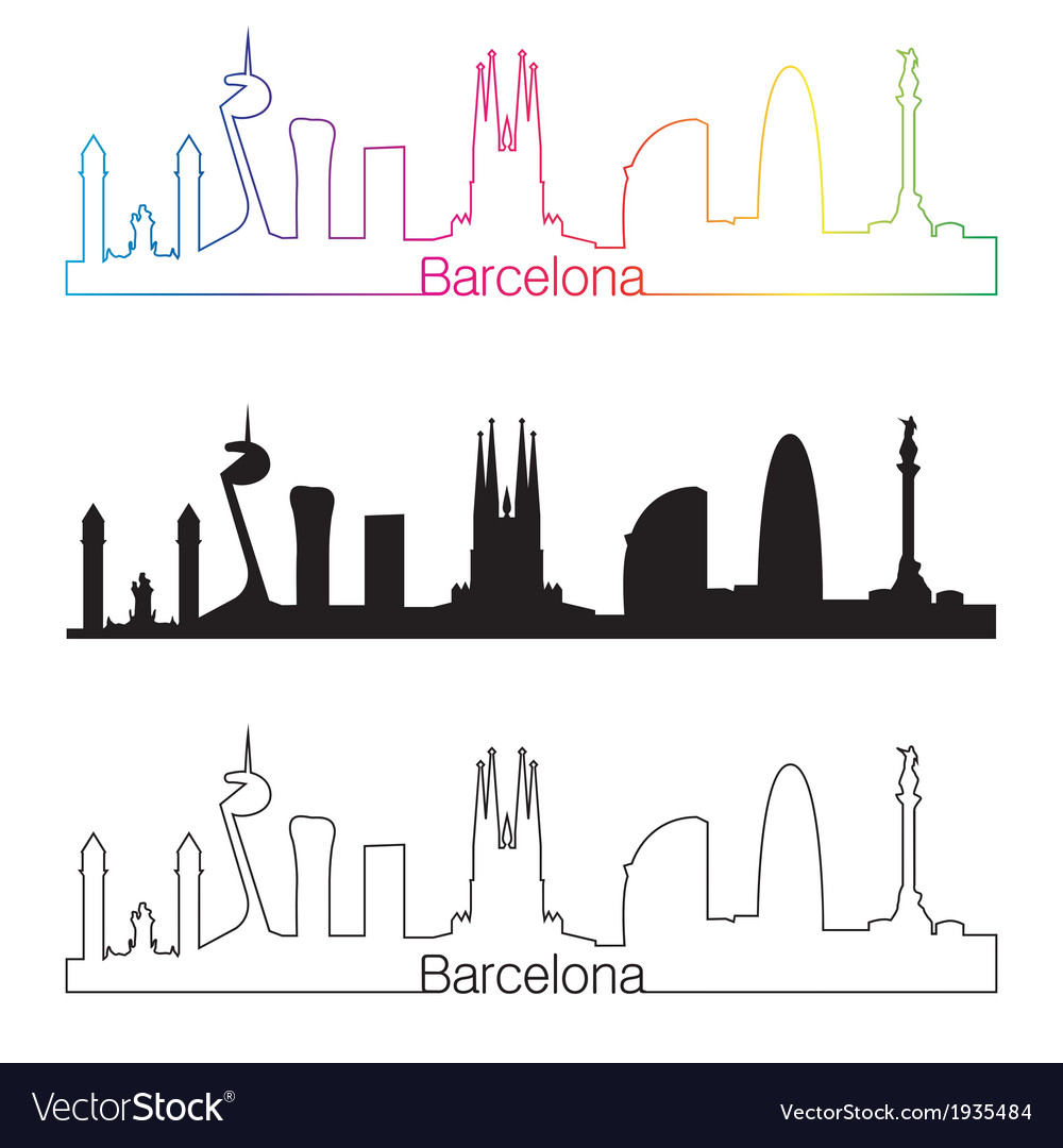 Barcelona skyline linear style with rainbow vector | Price: 1 Credit (USD $1)