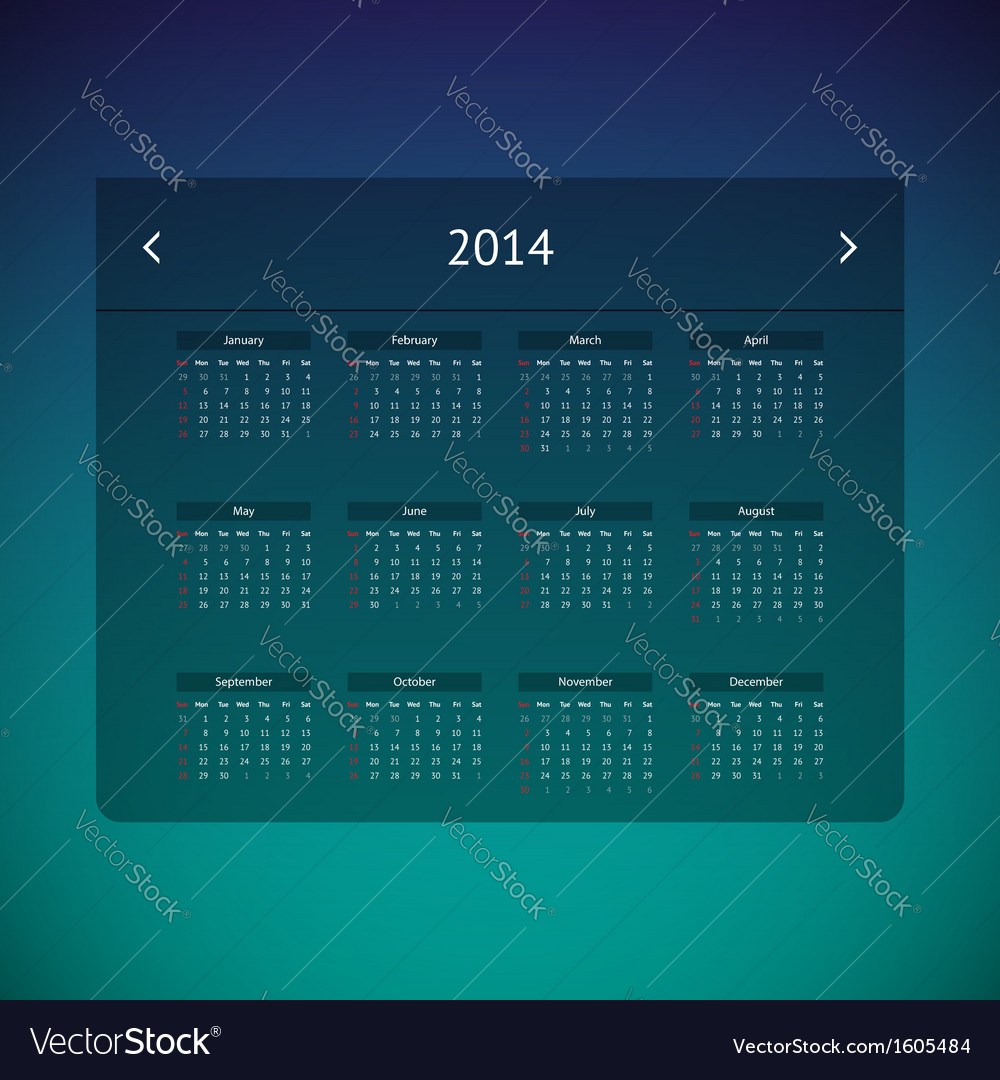 Calendar page for 2014 vector   Price: 1 Credit (USD $1)