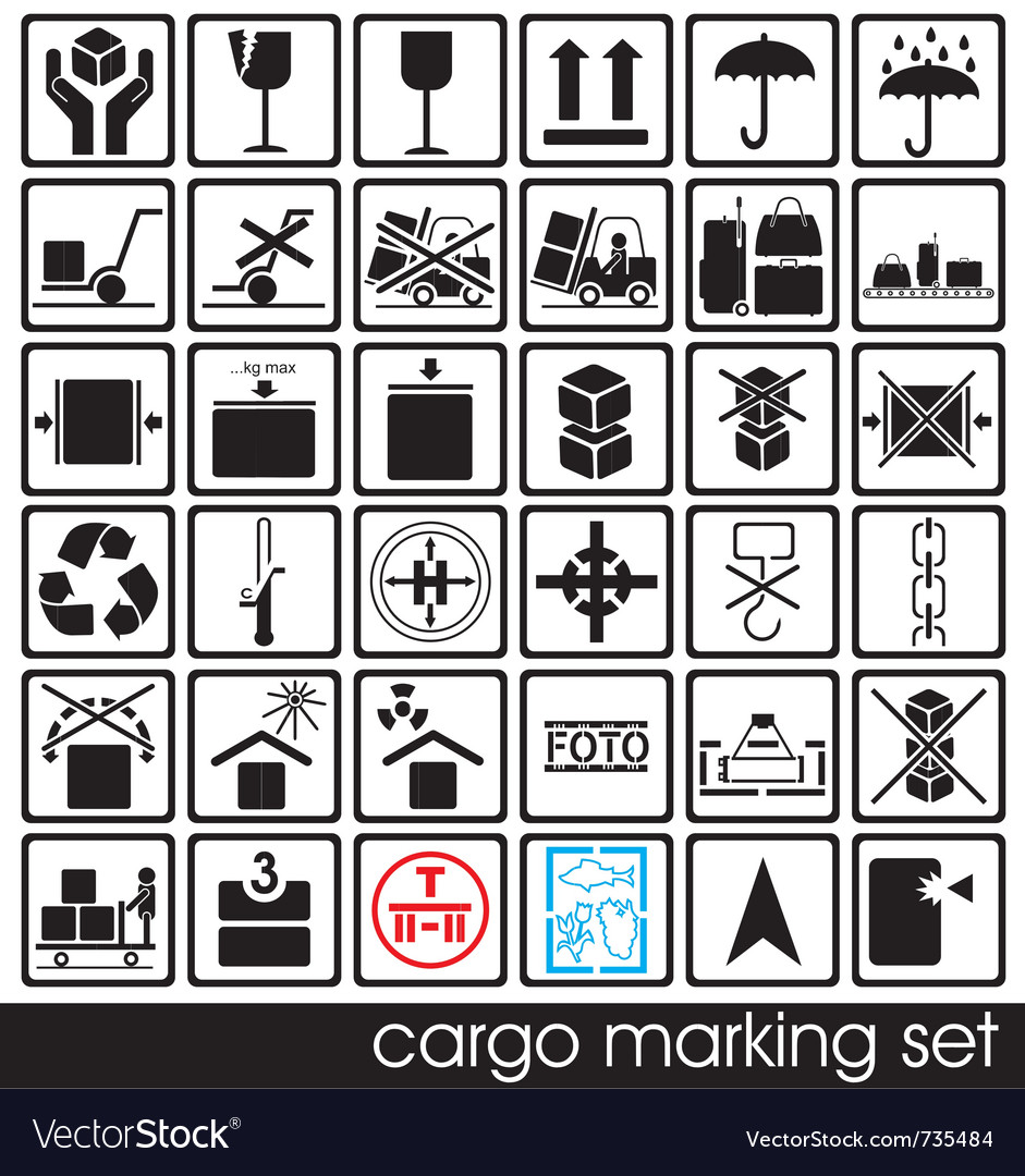 Cargo marking icons vector | Price: 1 Credit (USD $1)
