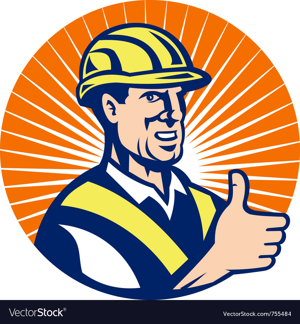 Construction hardhat thumb up vector | Price: 1 Credit (USD $1)