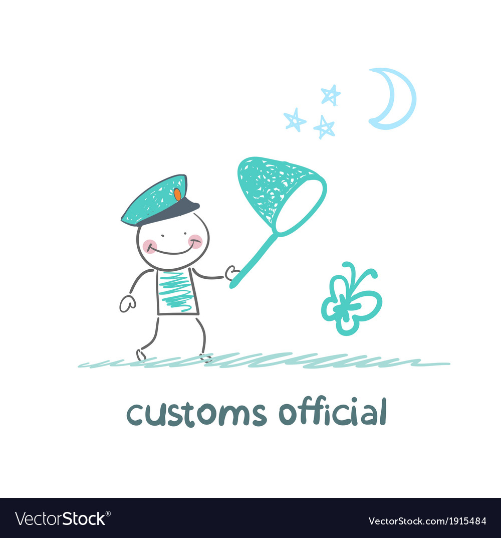Customs officer catches the butterfly a net vector | Price: 1 Credit (USD $1)