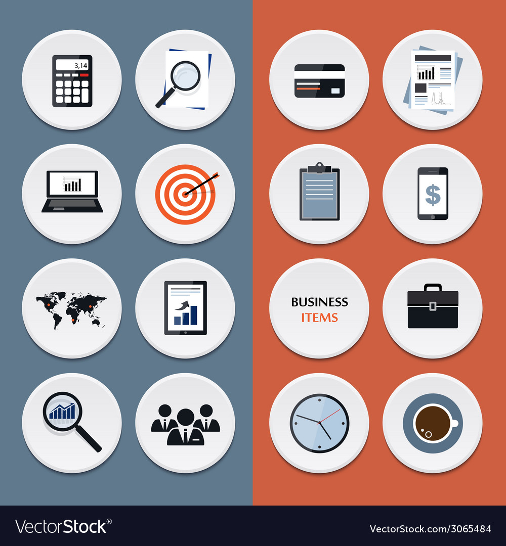 Flat icons of business workflow items and elements vector | Price: 1 Credit (USD $1)