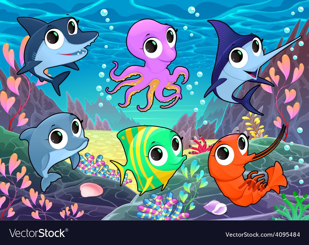 Funny marine animals in the sea vector | Price: 3 Credit (USD $3)