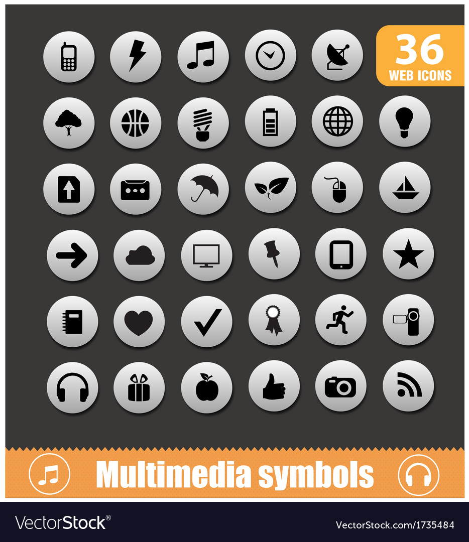 Multimedia symbols big set silver color vector | Price: 1 Credit (USD $1)