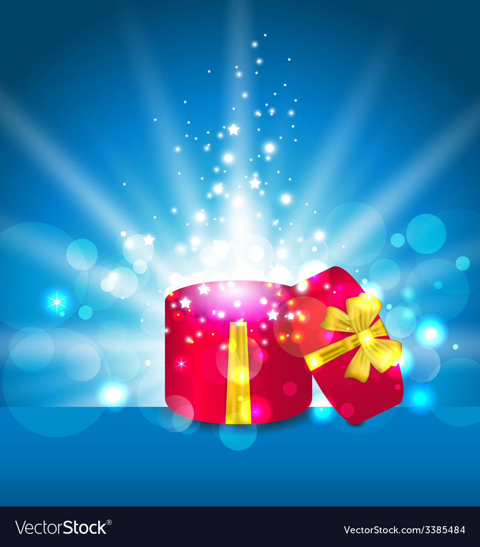 Open round gift box for your holiday - vector | Price: 1 Credit (USD $1)
