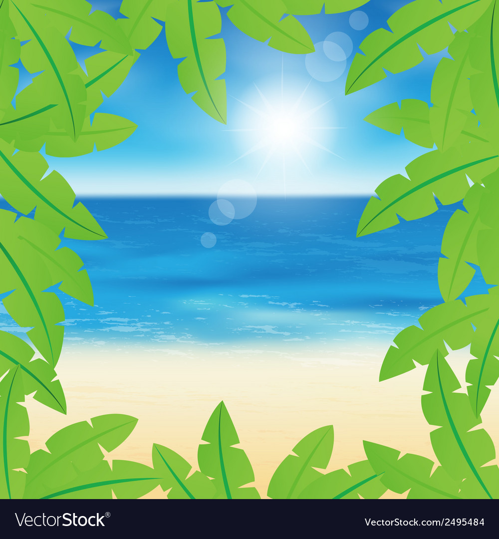 Palm leaves on sand beach background vector | Price: 1 Credit (USD $1)
