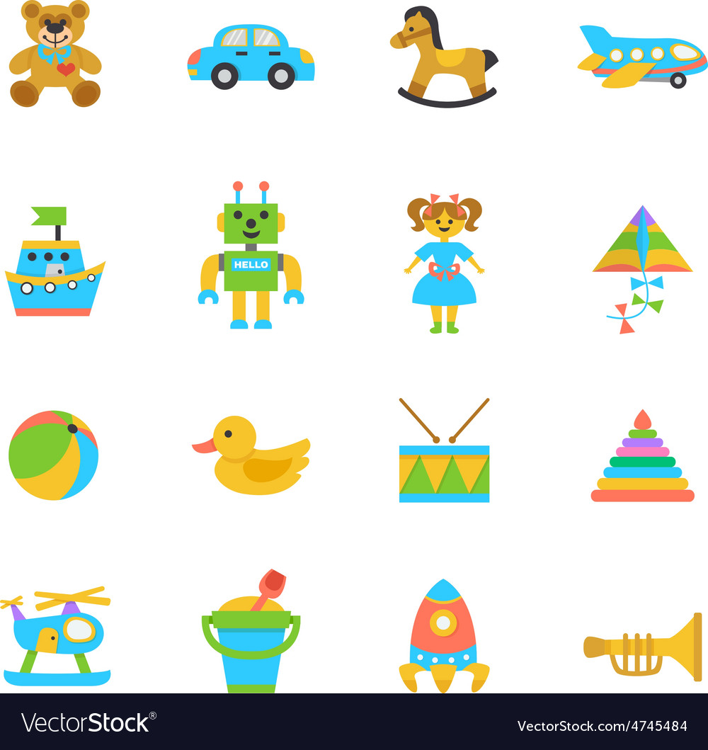 Toys flat icon vector | Price: 1 Credit (USD $1)