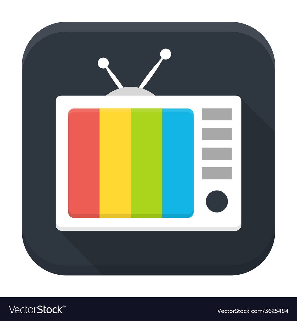 Tv show flat app icon with long shadow vector | Price: 1 Credit (USD $1)