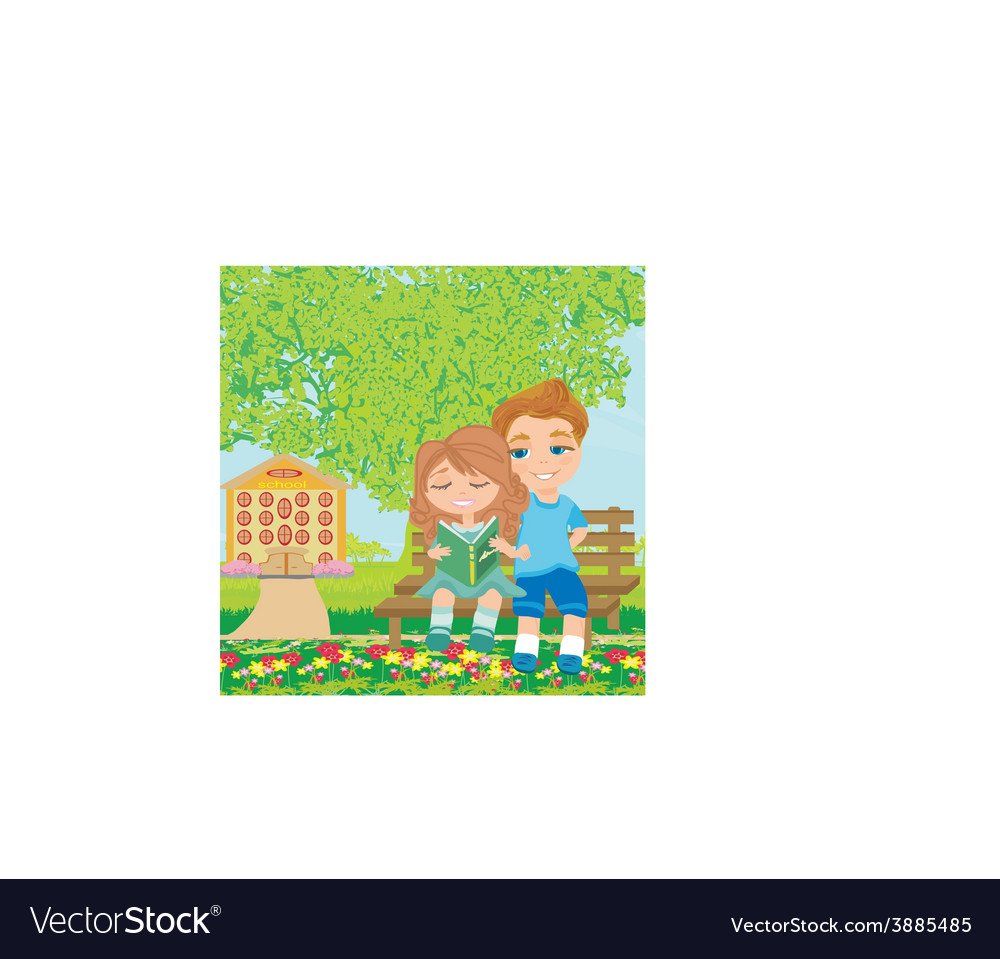 Boy and girl reading book vector | Price: 1 Credit (USD $1)