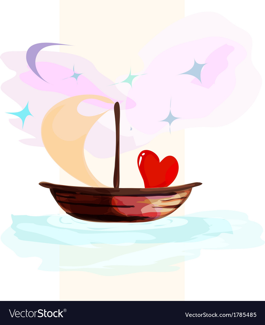 Card with hearts floating on a boat vector | Price: 1 Credit (USD $1)
