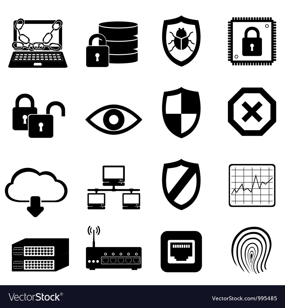 Computer virus icons vector | Price: 1 Credit (USD $1)