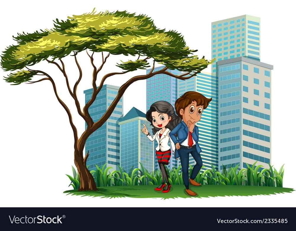 Employees under the tree vector | Price: 3 Credit (USD $3)