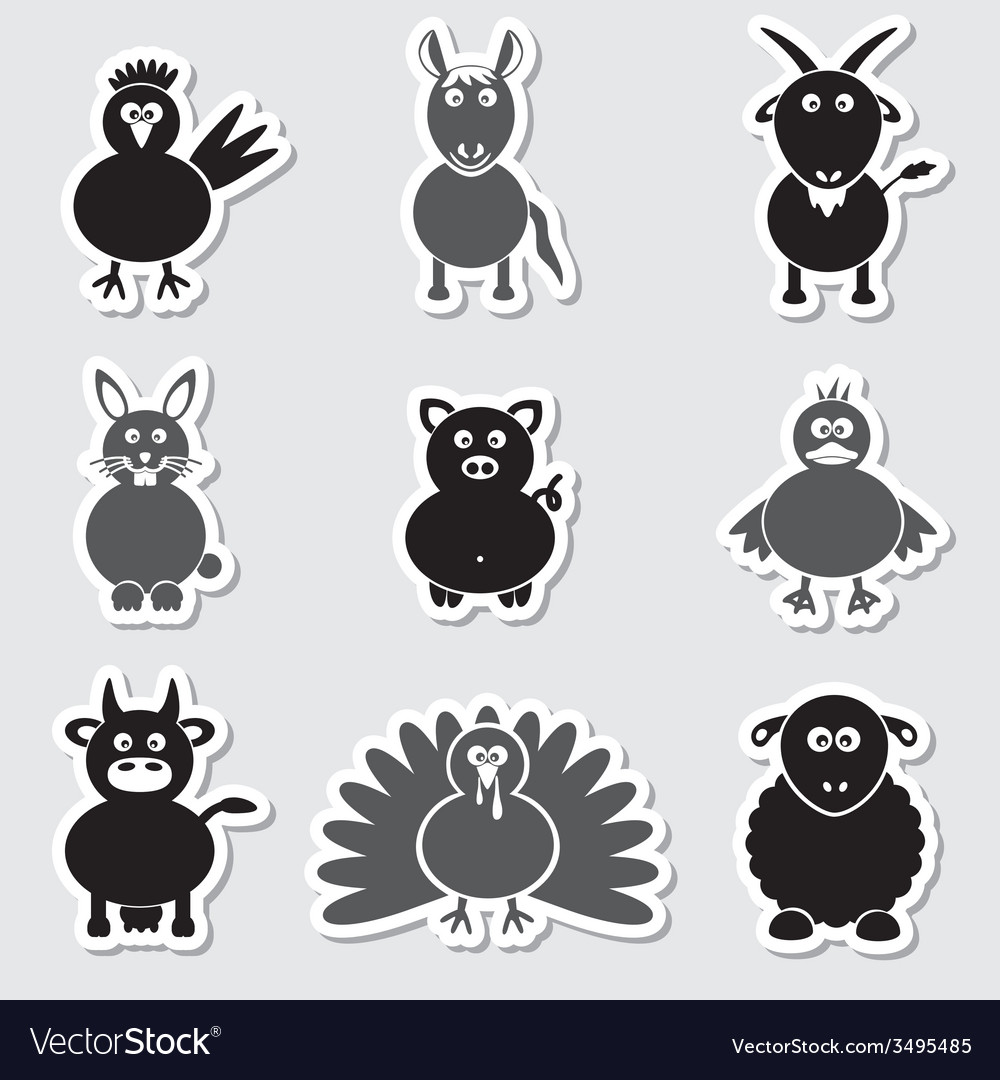 Farm animals simple stickers set eps10 vector | Price: 1 Credit (USD $1)