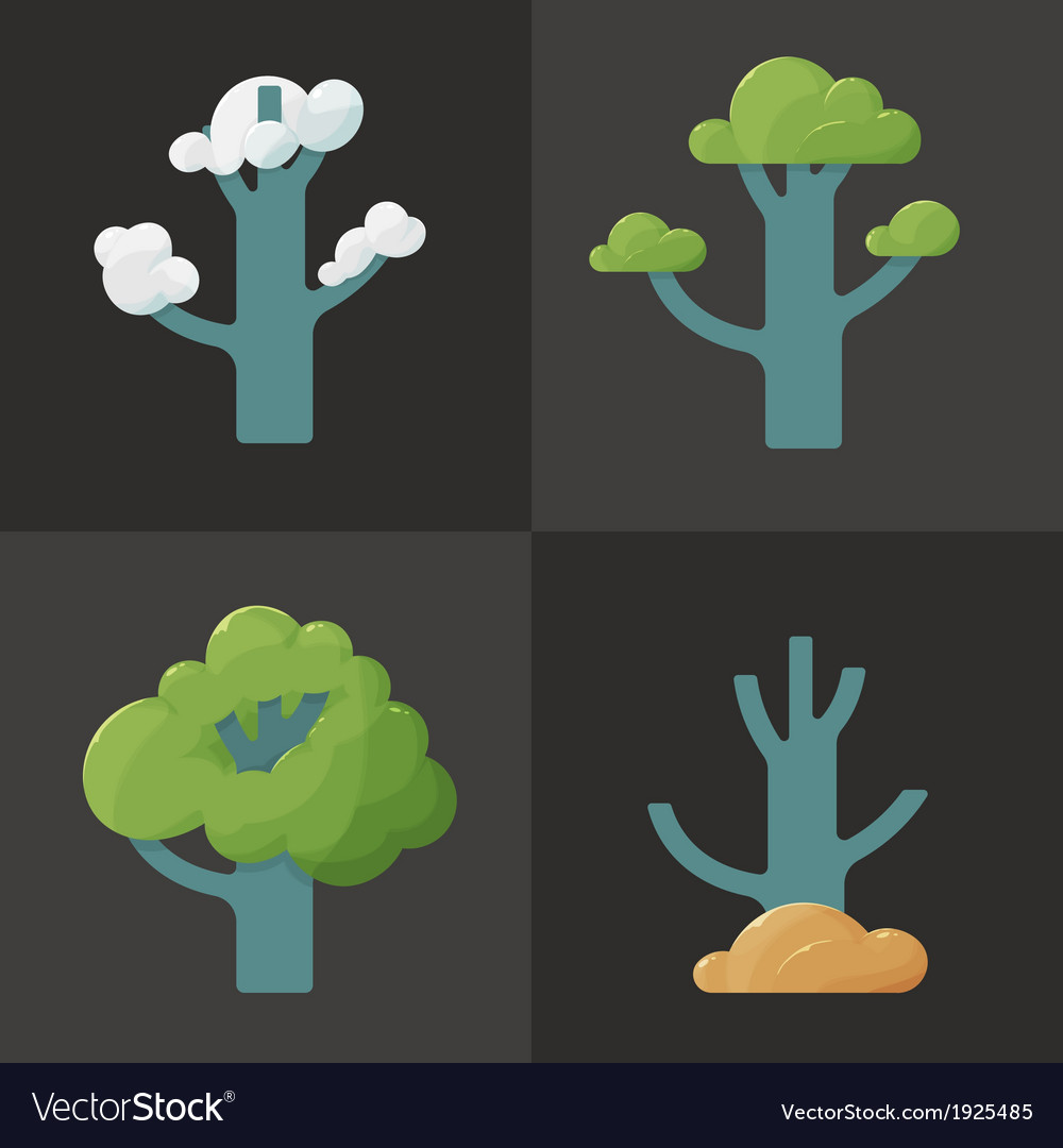 Flat icon of a tree in different seasons vector | Price: 1 Credit (USD $1)