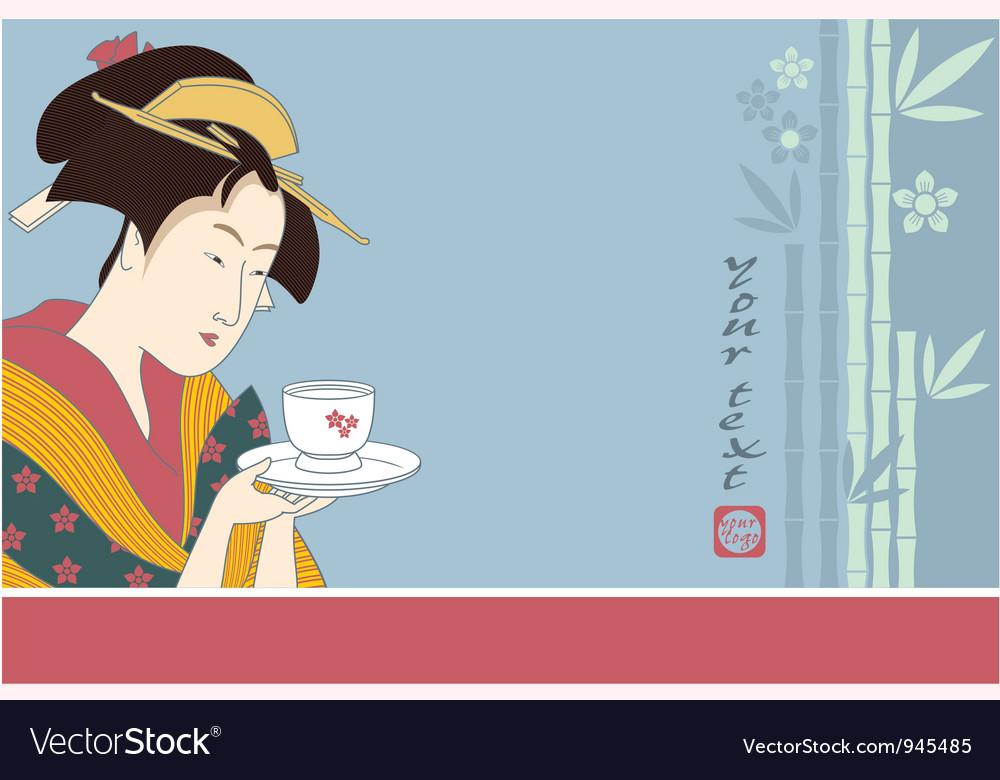 Japanese geisha - traditional art style vector | Price: 1 Credit (USD $1)