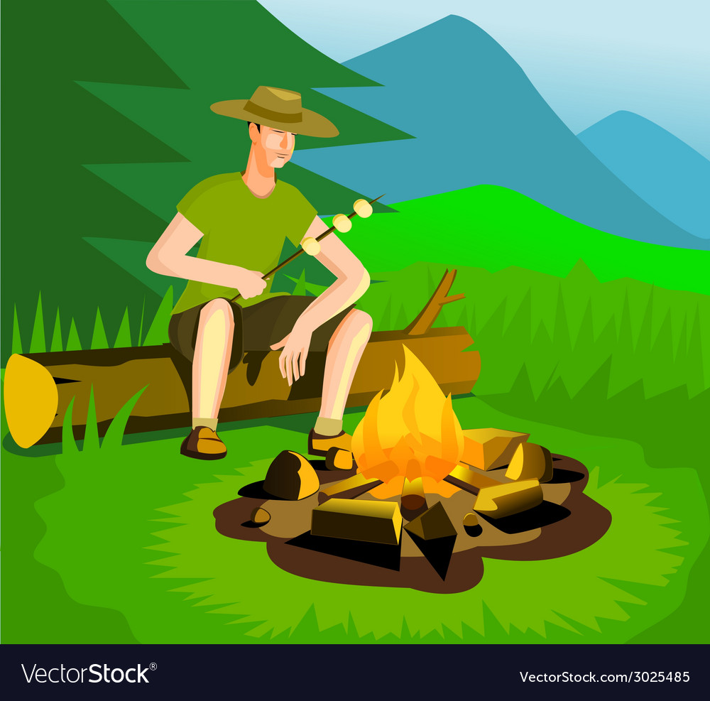 Relaxing man near campfire vector | Price: 3 Credit (USD $3)