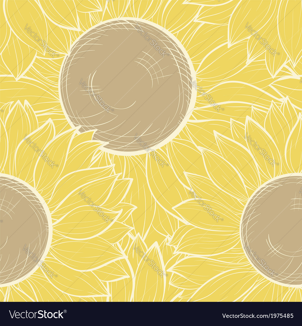 Seamless background with vintage sunflowers vector | Price: 1 Credit (USD $1)
