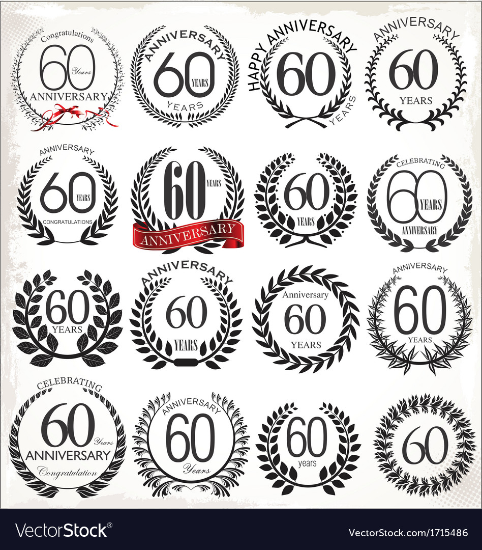 60 years anniversary laurel wreaths vector | Price: 1 Credit (USD $1)