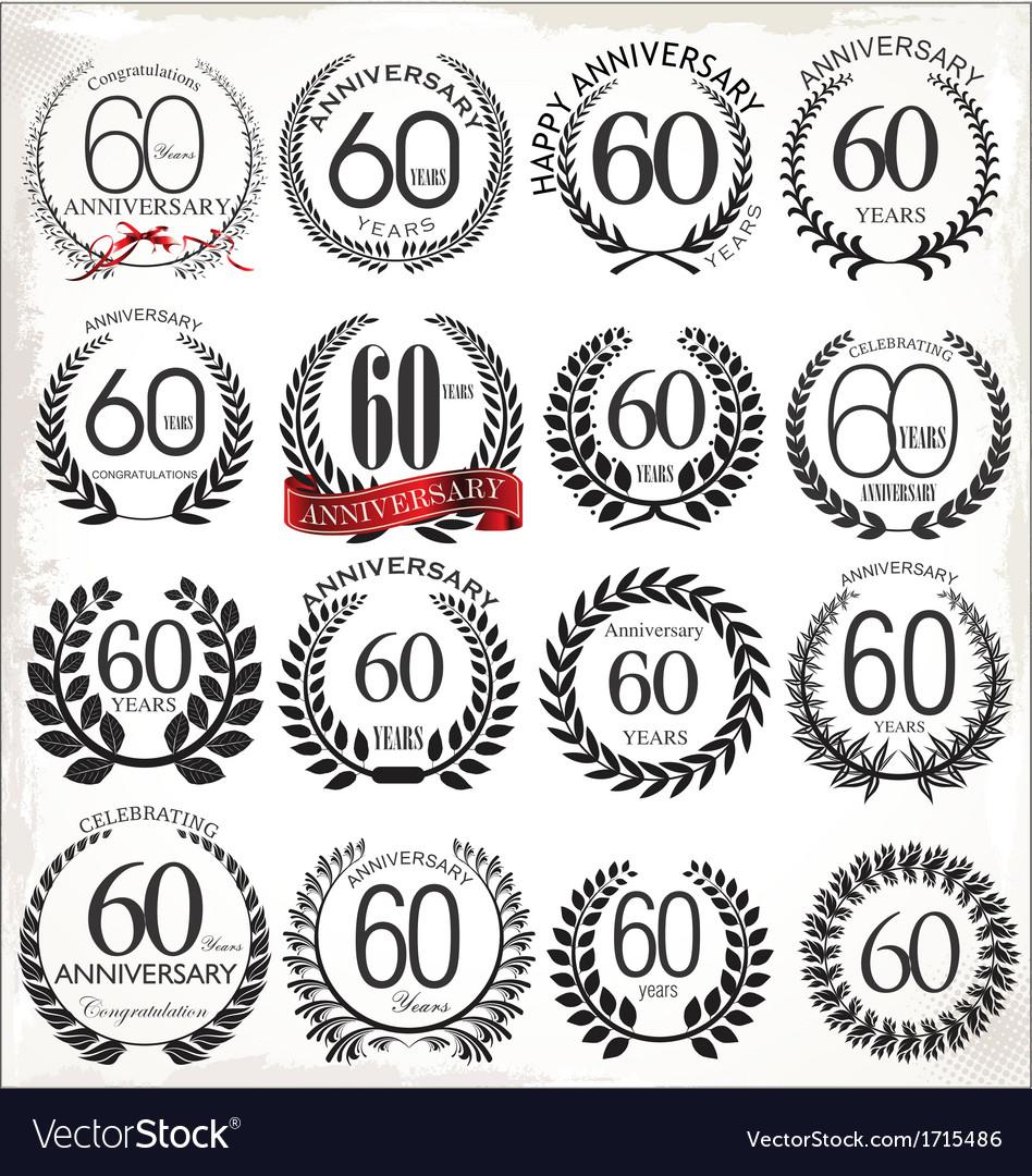 60 years anniversary laurel wreaths vector | Price: 1 Credit (USD $1)