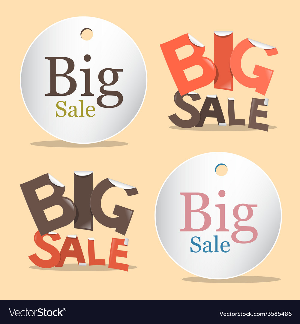 Big sale labels - tags set vector | Price: 1 Credit (USD $1)