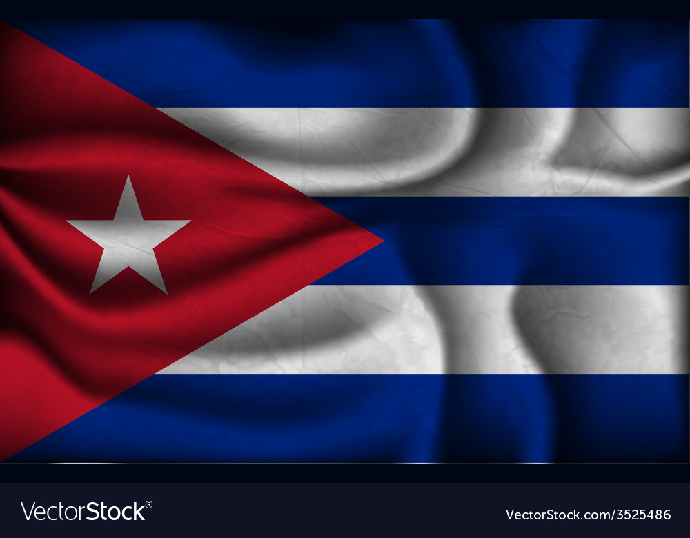 Crumpled flag of cuba a light background vector | Price: 1 Credit (USD $1)