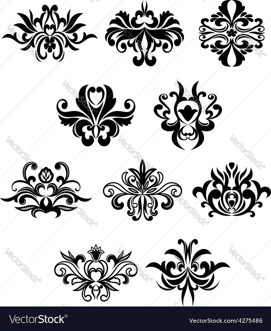 Damask flourish black design elements vector | Price: 1 Credit (USD $1)