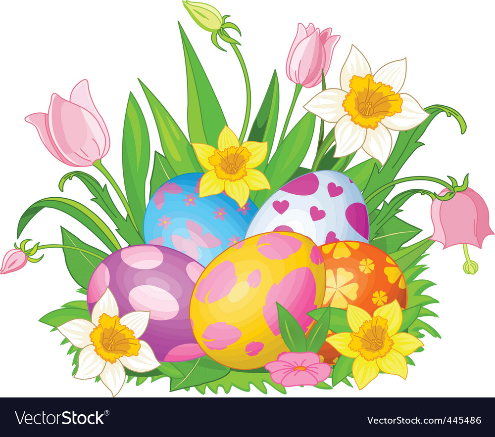 Easter eggs in a grass vector | Price: 1 Credit (USD $1)