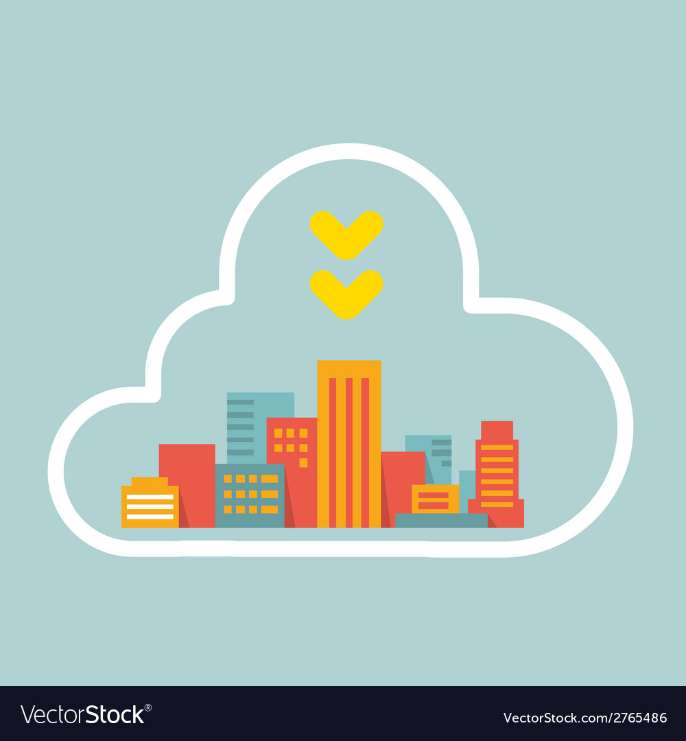 Flat style modern city within the cloud vector | Price: 1 Credit (USD $1)