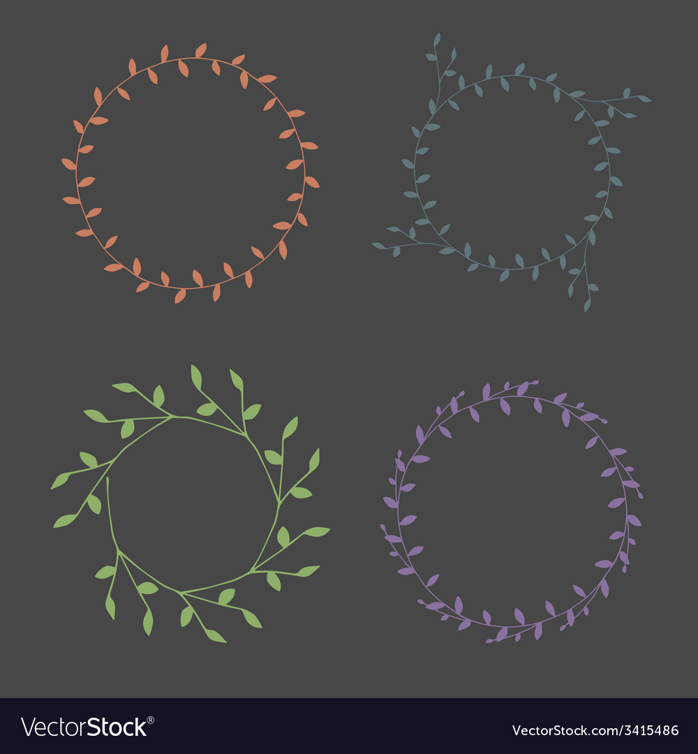 Hand-drawn branches wreaths color set vector | Price: 1 Credit (USD $1)