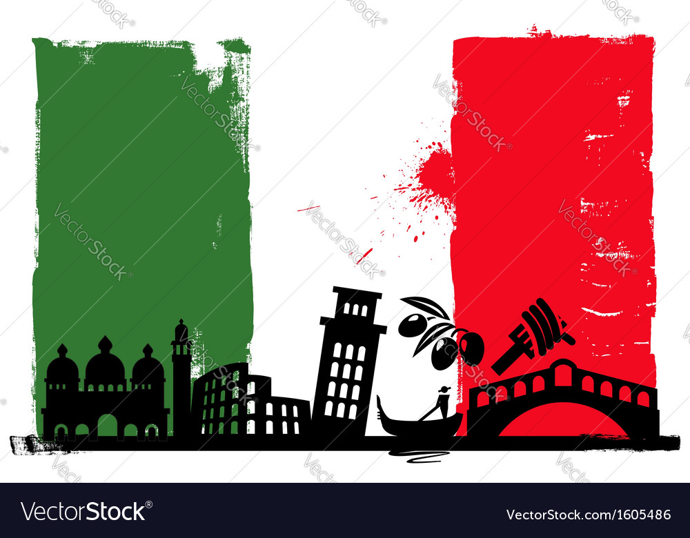 Italy flag and silhouettes vector | Price: 1 Credit (USD $1)