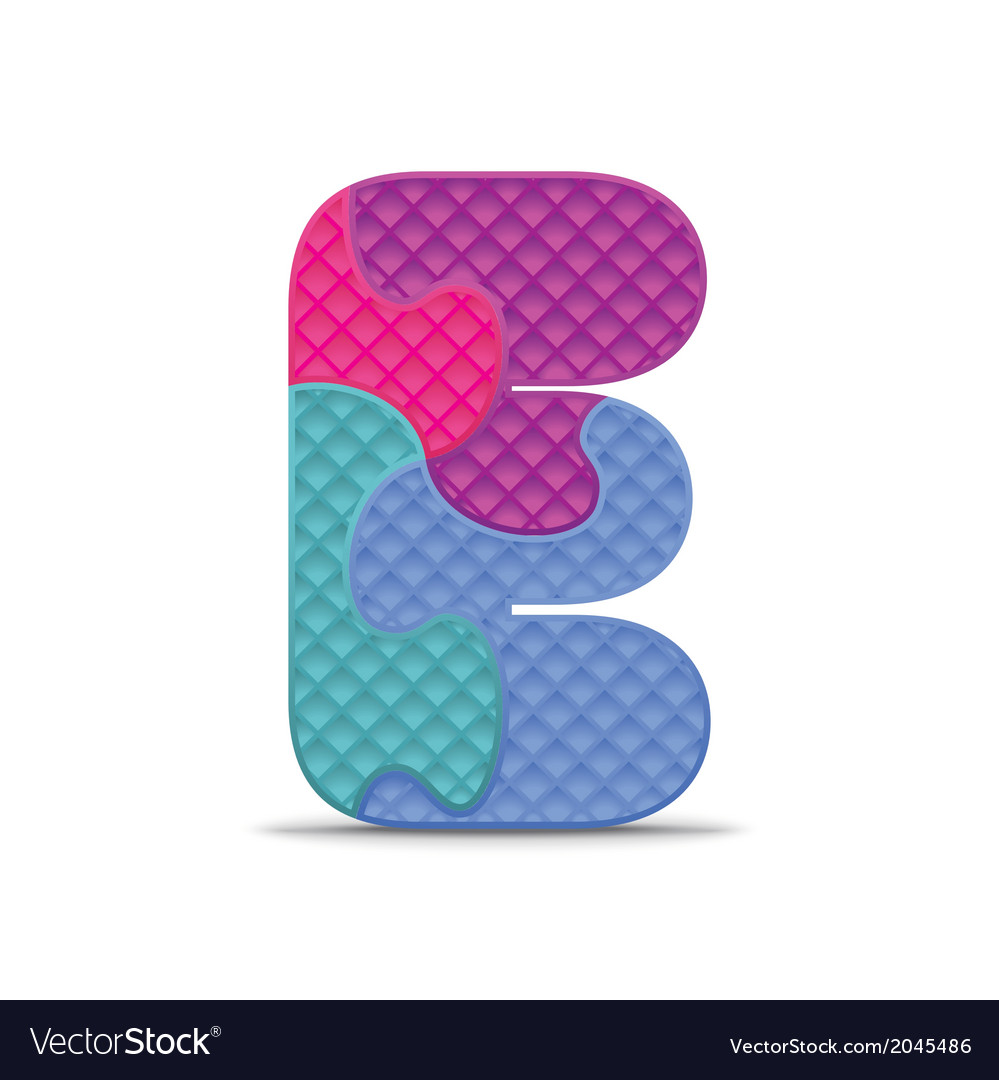 Letter e written with alphabet puzzle vector | Price: 1 Credit (USD $1)