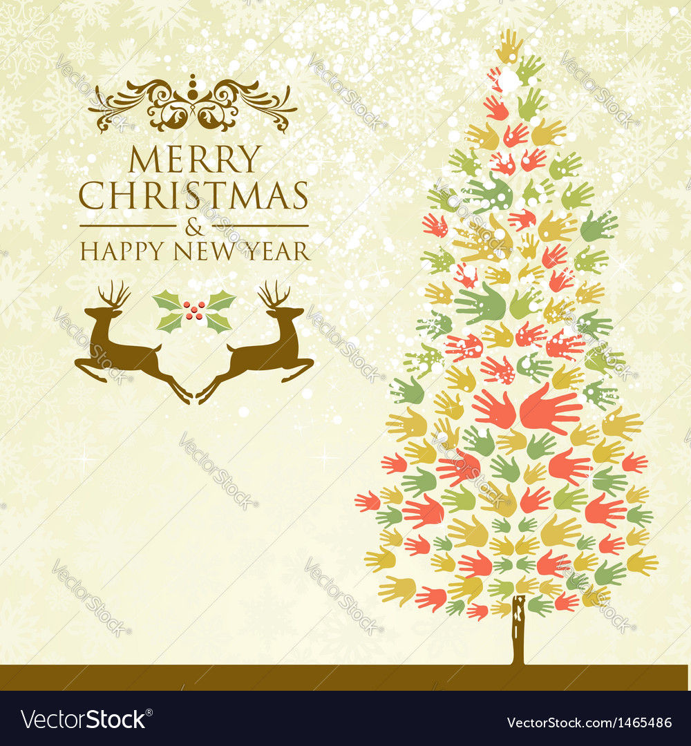 Merry christmas pine tee hands vector   Price: 1 Credit (USD $1)