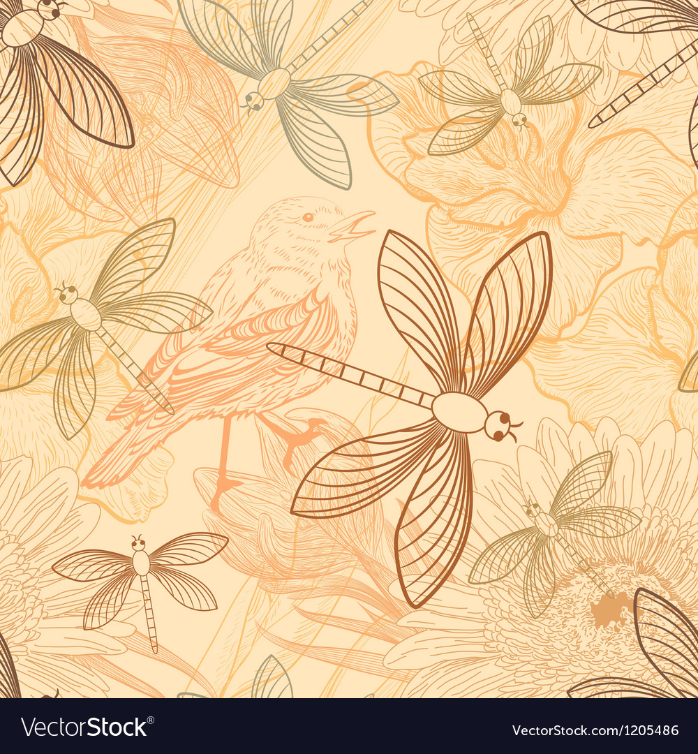 Seamless background with handdrawn birds and vector | Price: 1 Credit (USD $1)