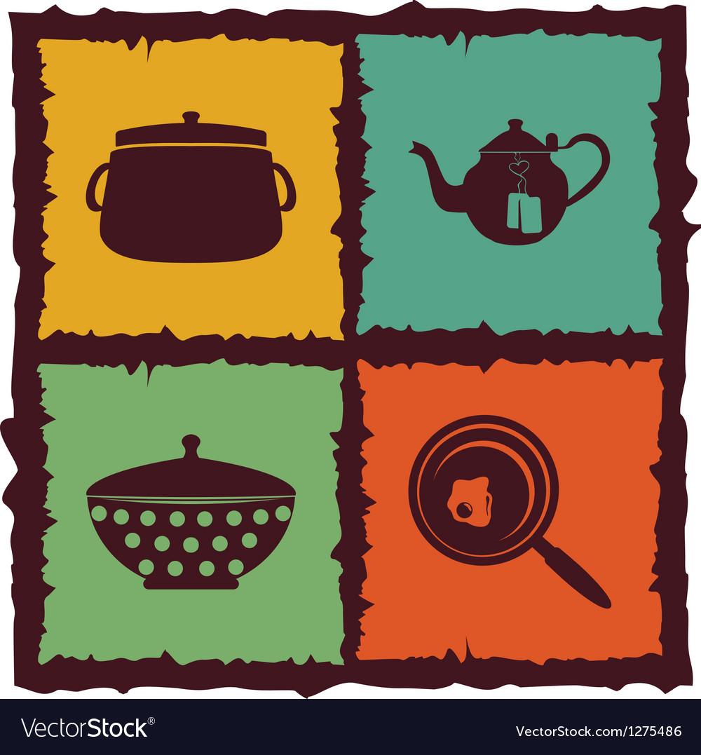 Set of vintage kitchen elements labels vector   Price: 1 Credit (USD $1)