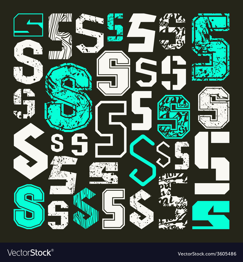 Set versions of letters s vector | Price: 1 Credit (USD $1)