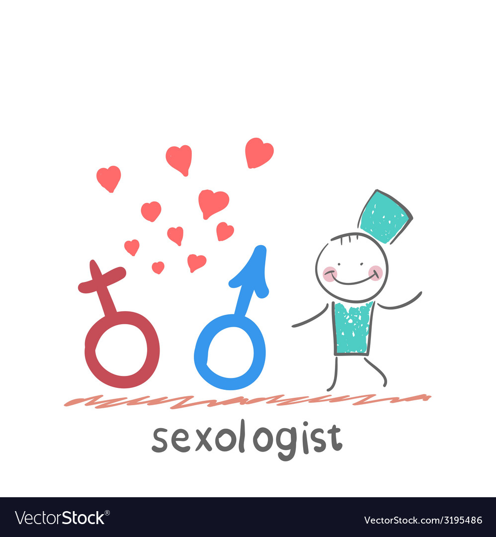 Sexologist holding signs male and female vector | Price: 1 Credit (USD $1)